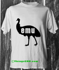 An emu silhouette with the letters E.M.U. carved out in reversed.